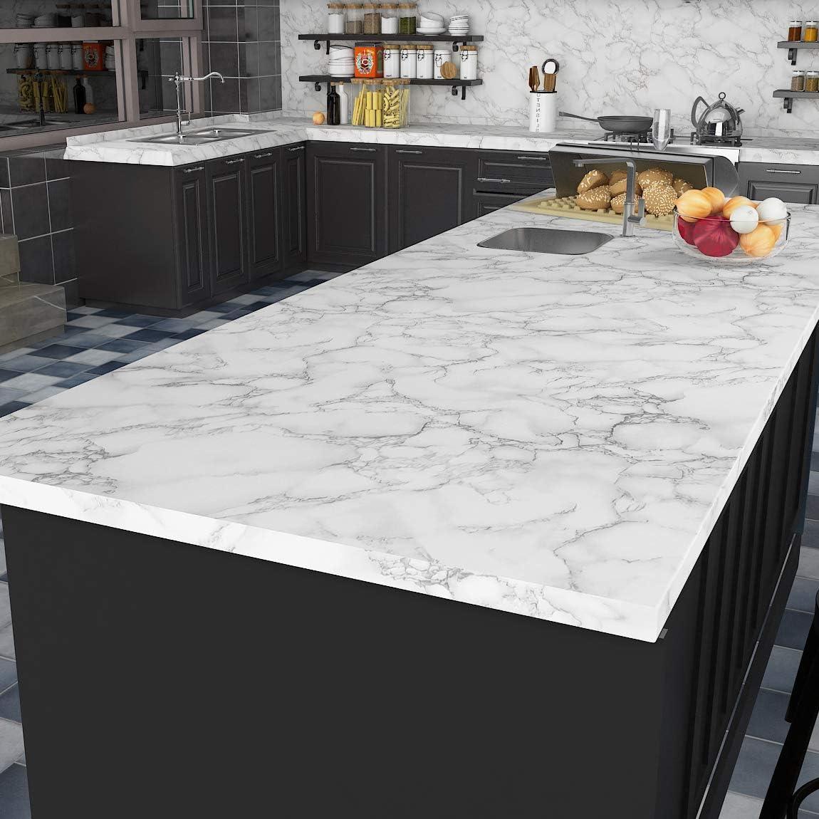 Livelynine Matte Marble Contact Paper for Desk Table Kitchen Countertop  Peel and Stick Wallpaper for Bathroom Counter Top Bedroom Floor Vinyl  Flooring ...
