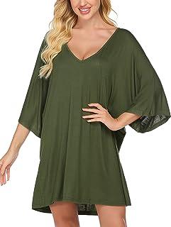 Ekouaer Deep V Neck Sleepshirt Sexy Cotton Nightshirt Women Plus Size S-XXL