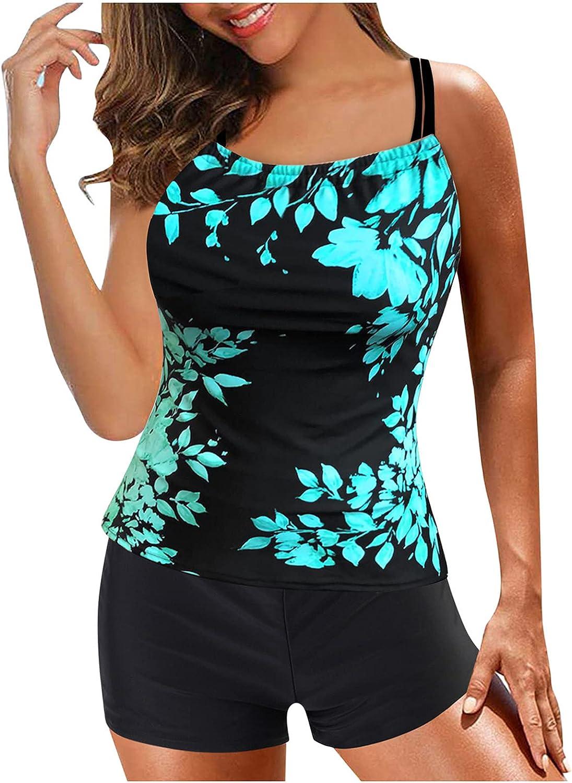 SSYUNO Tankini Swimsuits for Women 2 Piece Tie Dye Tankini Swimwear Tummy Control with Shorts Bathing Suit Printing Beachwear