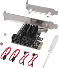 JESOT SATA Card 4 Port with 4 SATA Cables, 6 Gbps SATA 3.0 Controller PCI Express Expression Card with Low Profile Bracket Support 4 SATA 3.0 Devices