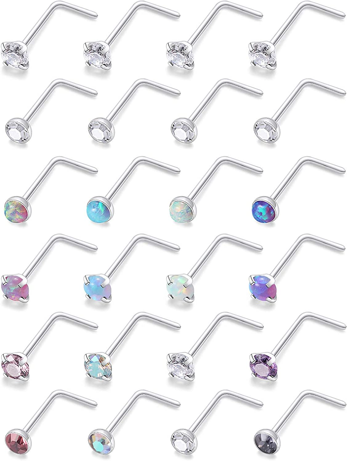 Ranking TOP17 Dyknasz 24PCS 20G Nose Rings Nostril O Surgical Studs Al sold out. Steel
