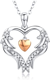 Angel Wings Necklace Heart Necklace S925 Sterling Silver Love Heart Pendant Romantic Jewelry Gifts with Gift Box for Women...