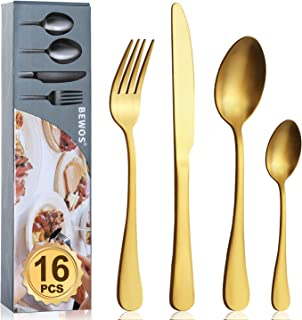 Cutlery Set, BEWOS 16-Piece Stainless Steel Matt Gold Flatware Set, Tableware Silverware Set with Spoon Knife and Fork Set, Service for 4, Dishwasher Safe/Easy Clean