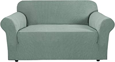 PrimeBeau One Piece Ultimate Stretch Knit Spandex Slipcover Non-Skid Loveseat Fitting Green