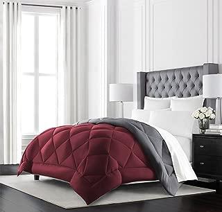 Beckham Hotel Collection Goose Down Alternative Reversible Comforter - All Season - Premium Quality Luxury Hypoallergenic Comforter - King/Cal King - Burgundy/Grey