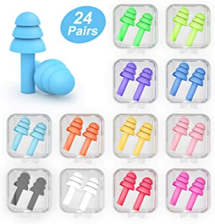 Coolook Silicone Swimming Earplugs - 24 Pairs Waterproof Reusable Noise Cancelling Ear Plugs for Swimming Sleeping Showering Bathing Snoring Plane Shooting Surfing and Other Water Sports