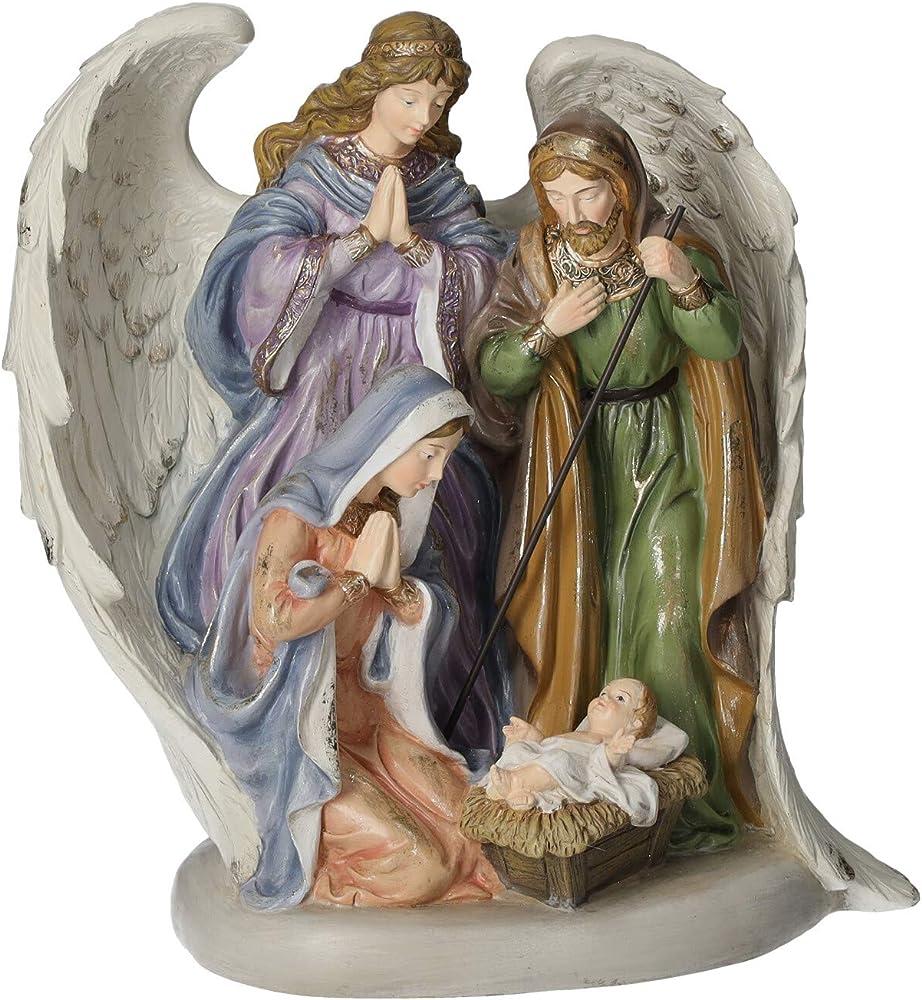 Keyhome store - angelo natività presepio in resina colorata, decorazione natalizia per interni 30 cm