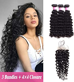Original Queen 8A Grade Brazilian Deep Wave Bundles With Closure Virgin Human Hair Unprocessed Deep Curly Natural Color 16 18 20inches With 14 Inches Free Part Closure