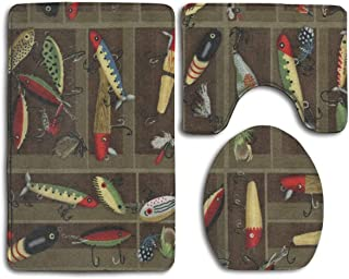 Bathroom Rug Mat Set 3-Piece Anti-Slip Vintage Fishing Lure Style Bath Rugs Include U-Shaped Toilet Rug Toilet Seat Cover Mat and Bath Rug - Perfect Combination of Luxury and Comfort