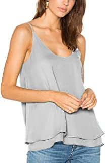 Women's Summer Chiffon Layered Cami Tank Tops Loose Fit Casual Blouses