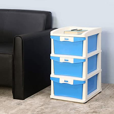 Nilkamal CHTR23 Three Layers Chest of Drawer (Blue and Cream)