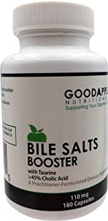 Bile Salts Booster for Gallbladder and No Gallbladder|by GoodApple Nutritionals|Ox Bile Salts with Taurine|180 capsules|110mg