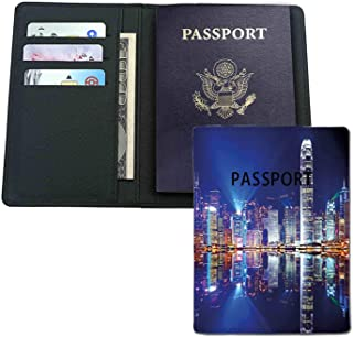 Leather passport holder - Hong Kong Island from Kowloon Vibrant View Water Reflection Modern China-credit card,passport,ID card protection.Travel gifts,good gifts for neighbors,friends,colleagues