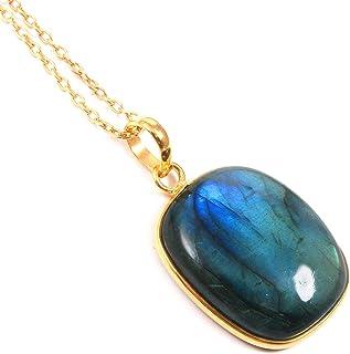 Ratnagarbha Blue Flash Labradorite Gold Necklace, Cushion Shape Pendant, Gold Necklace, Layering Necklace, Gem Necklace, G...