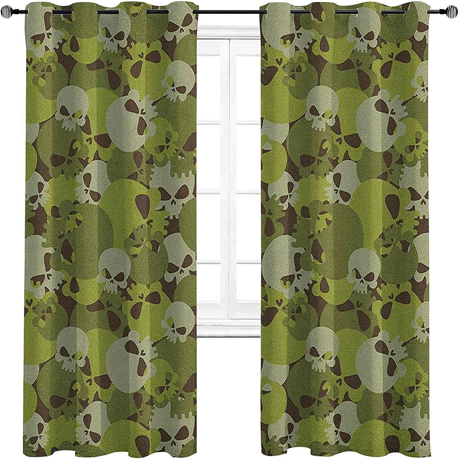 security Camo High-Strength Blackout Curtains Composition Scar of Super-cheap Skulls