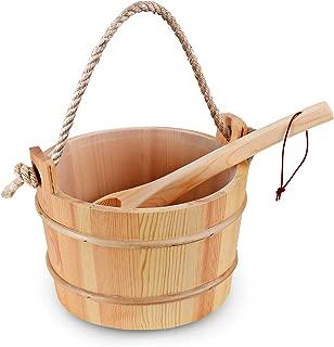 Bestnewie Sauna Bucket with Ladle Handmade Wooden Sauna Bucket Sauna Spa Accessory - 5 Liter (1.3 Gallon) Sauna Bucket