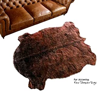 Fur Accents Brown Buffalo Hide Area Rug Faux Fur Plains Buffalo 5'x7'