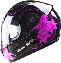 Voss 970Y Youth / Kids Full Face Helmet. Pink Lily Graphic. DOT - M - Gloss Black Lily