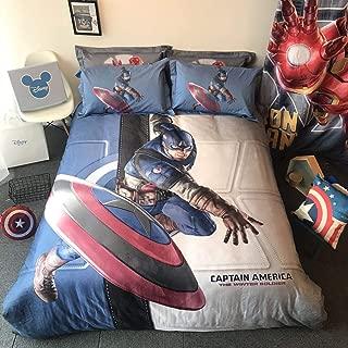 Sunday 4 Piece Boys Captain America Bedding Cover Set, Queen Size 3D Superhero Character Bedding Duvet Cover