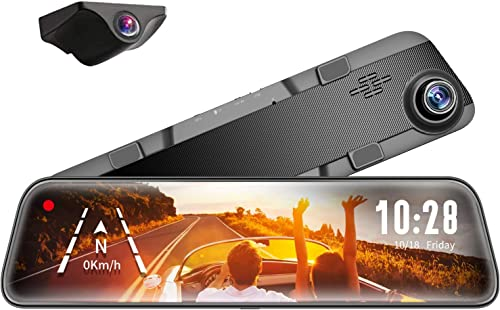 "WOLFBOX Mirror Dash Cam Front and Rear Camera,12"" IPS Full Touch Screen,1296P HD Smart Rear View Mirror for Cars & Tr..."