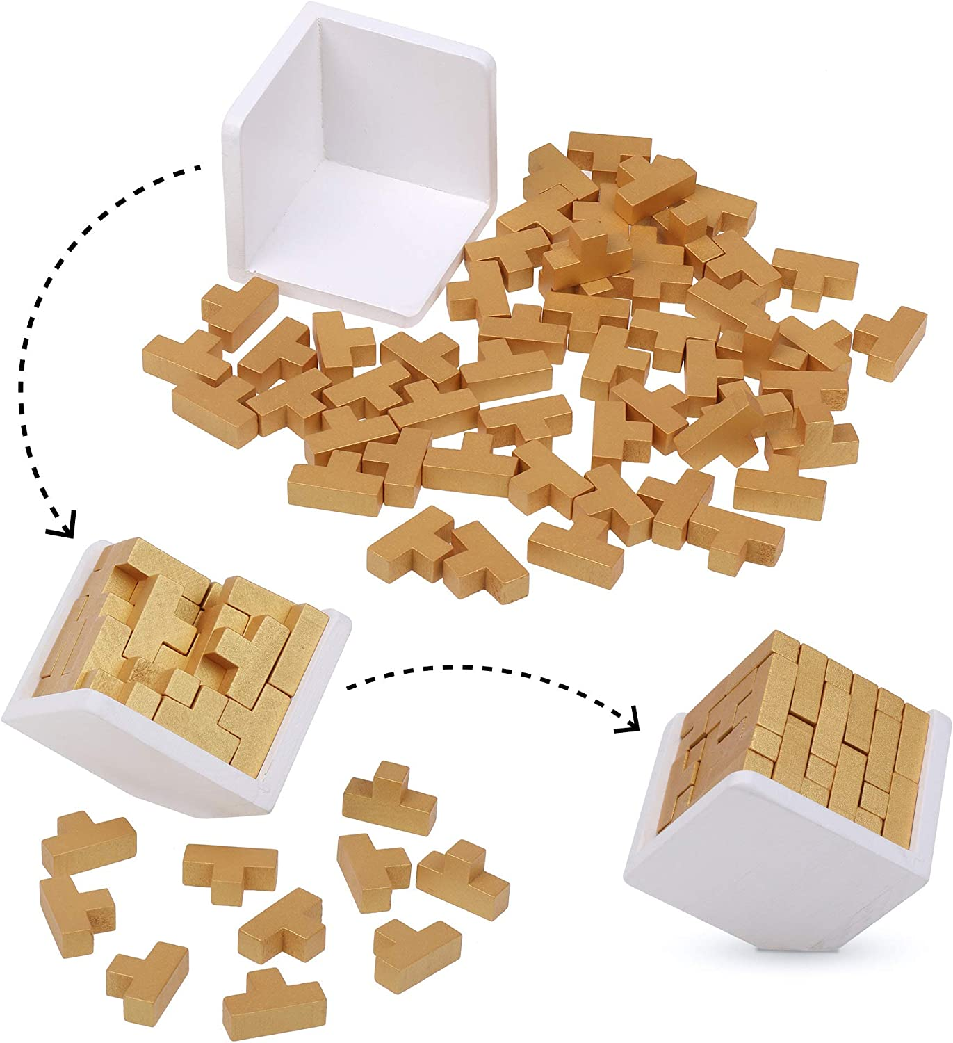 Genius Skills Builder T-Shape Pieces Painted Finish Puzzle Box Original 3D Wooden Brain Teaser Puzzle Gold Edition 3D puzzles For Adults And Kids