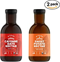 D'vash Organic Syrup Superfood Sugar Substitute, 2 Pack (1) 16.6oz Bottle Cayenne Date Syrup, (1) 16.6oz Bottle Organic Sw...