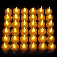 LED Candles, Lasts 2X Longer, Realistic Tea Light Candles, Flameless Candles to Create a Warm Ambiance, Naturally Flickering Bright Tealights,Battery Powered Candles,Unscented, Batteries Included (24)