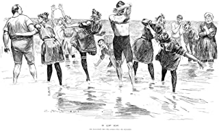 Gibson Bathing 1892 Ncharles Dana Gibson (1867-1944) American Illustrator In Leap Year The Reluctant Men Are Coaxed Into The Breakers Pen And Ink Drawing 1892 Poster Print by (18 x 24)