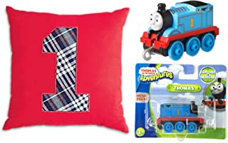 Engine Go-Go No. 1 Red Pillow 2 Pack Bundled with Trackmaster Push Along Thomas Metal Character Tank Train Toy 2 Items