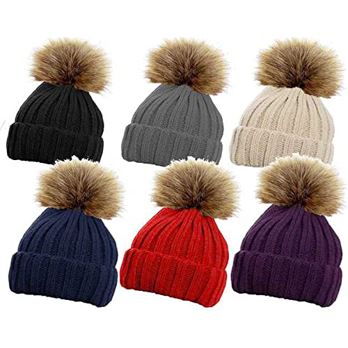 RockJock Ladies Faux Fur DETATCHABLE Pompom Ribbed Cable Knit HAT Winter  Warm eea879173bf