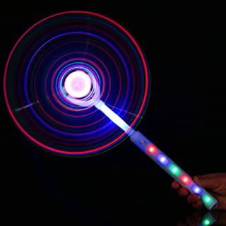 Fun Central BD026, 1 Pc LED DIY Windmill Wand, Light Up Pinwheel, Flashing Wind Spinners, Glowing Outdoor Toys, and Party Decoration