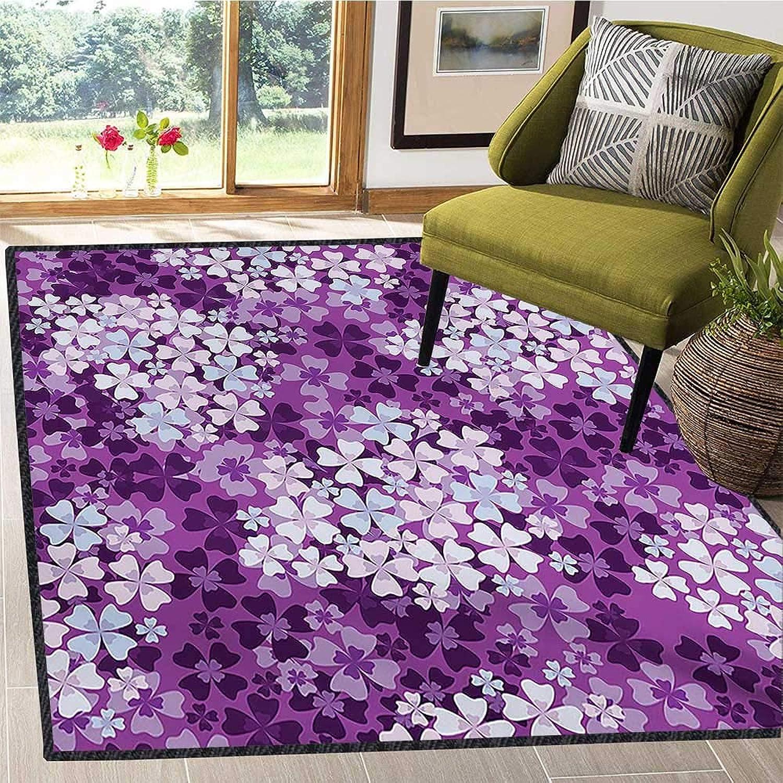 Flower, Door Mats for Inside, purplecs Illustration Greenery Field Freshness Hydrangea Artistic Design, Door Mats for Inside Non Slip Backing 4x6 Ft Purple White Baby bluee
