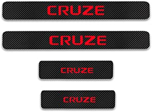 for Chevrolet Cruze Door Sill Protector Reflective 4D Carbon Fiber Sticker Door Entry Guard Door Sill Scuff Plate Stickers Auto Accessories 4Pcs Red
