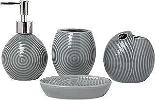 Comfify Ensemble d'accessoires de Salle de Bain Design 4 pièces - Ensemble de Salle de Bain en céramique avec Distributeur...