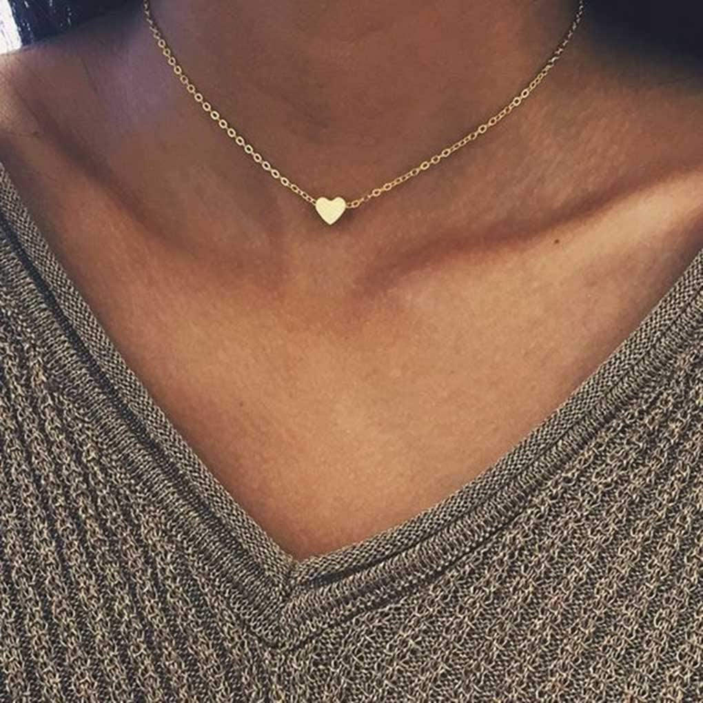 Metisee Simple Choker Heart Pendant Necklace for women and girls. (Gold)