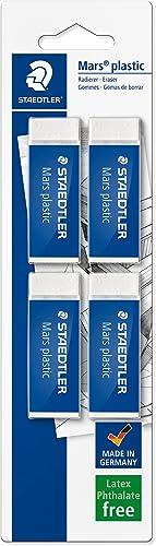STAEDTLER confezione da 4 gomme per cancellare Mars Plastic, colore bianco, senza ftalati né lattice, ottime prestazi...
