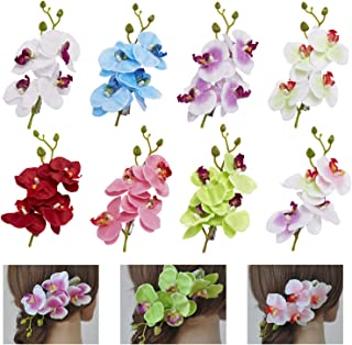 8 Pack Fake Artifical Orchid Flower Hair Clips Barrettes Clamps With Alligator Brooch Pins Tropical Hair Pieces Accessories Tailand Beach Holiday Wedding Party Bohemian Hawaiian Headwear for Women