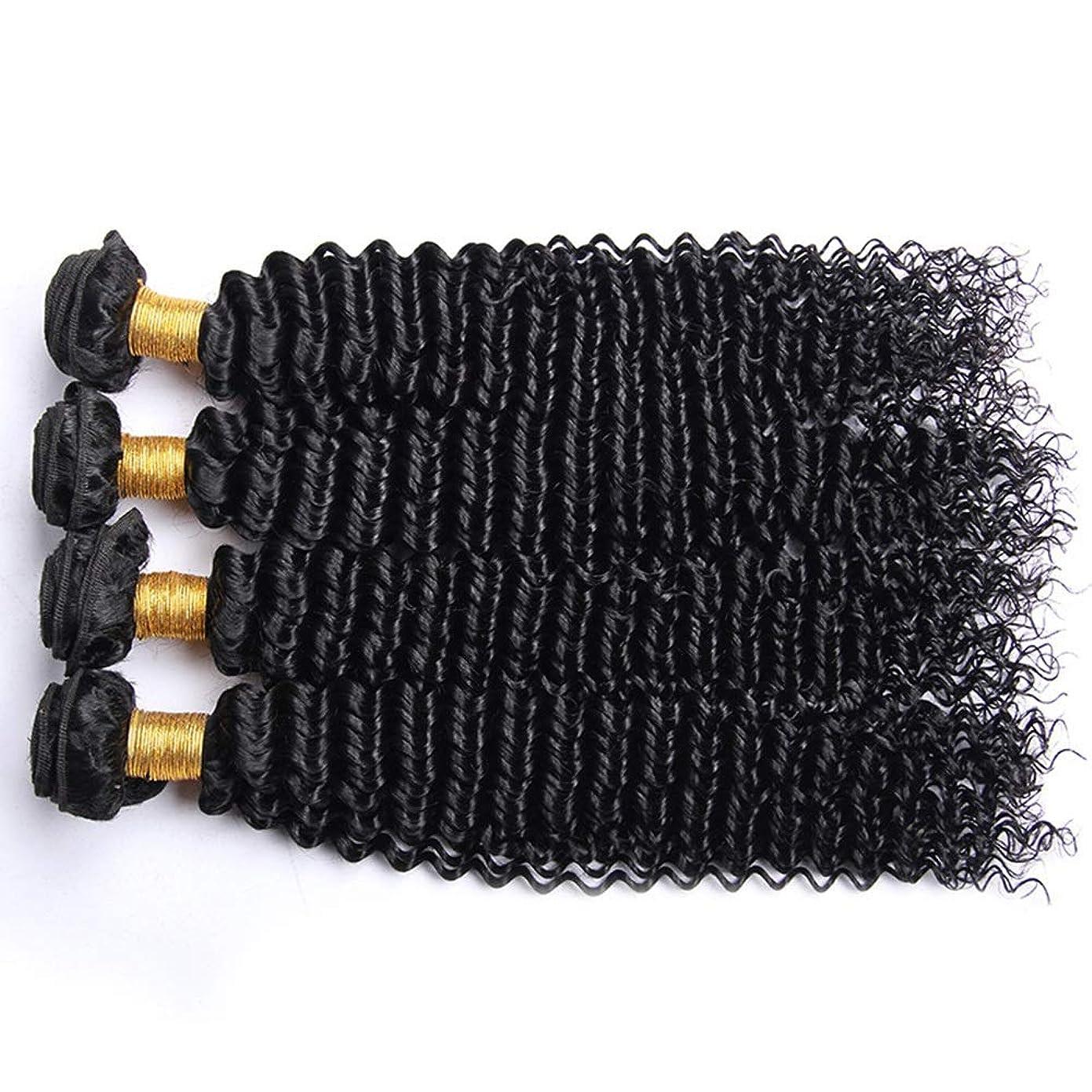 区別する可動式遠近法YESONEEP アフロ変態カーリー人間の髪1バンドルブラジル100%未処理の人間の髪織り横糸ナチュラルカラーロングカーリーウィッグ (色 : 黒, サイズ : 22 inch)