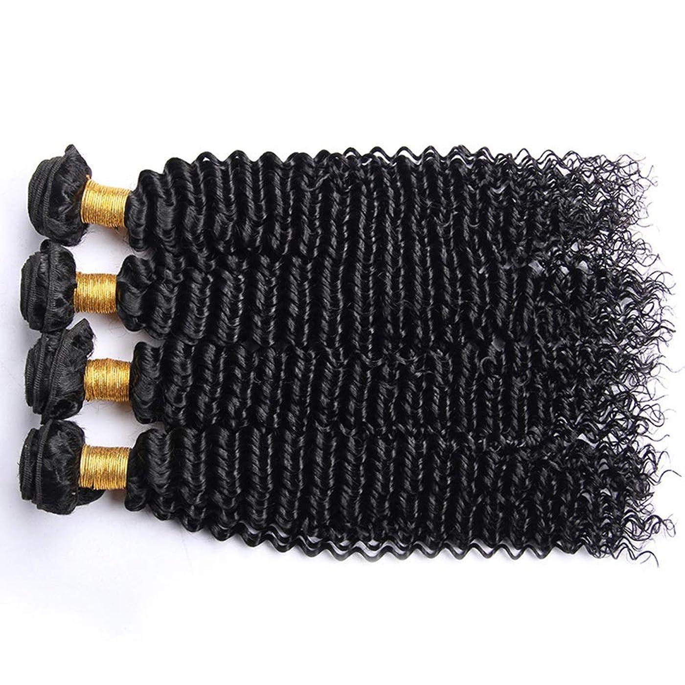 無力貫通する主張するYESONEEP アフロ変態カーリー人間の髪1バンドルブラジル100%未処理の人間の髪織り横糸ナチュラルカラーロングカーリーウィッグ (色 : 黒, サイズ : 22 inch)
