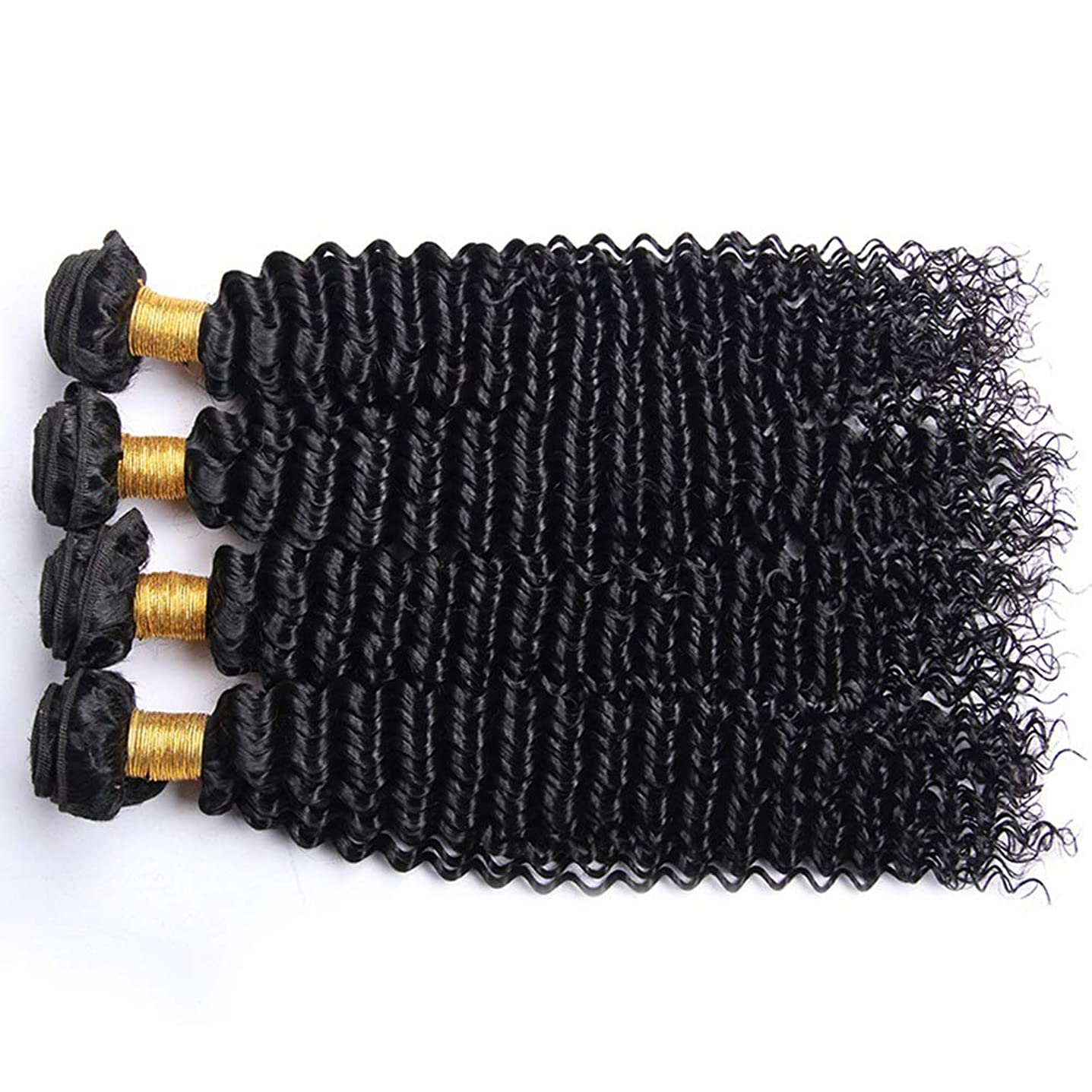 穏やかなベッドを作る宝石かつら アフロ変態カーリー人間の髪1バンドルブラジル100%未処理の人間の髪織り横糸ナチュラルカラーロングカーリーウィッグ (色 : 黒, サイズ : 16 inch)