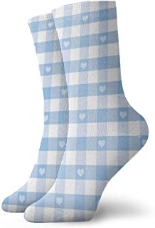 High Ankle Casual Socks,Gingham Pattern With Bicolor Checkered Squares With Heart Motifs
