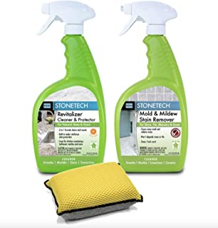 StoneTech Revitalizer, Cleaner & Protector And Mold & Mildew Stain Remover for Tile & Stone Bundle with Microfiber Sponge Applicator Pad