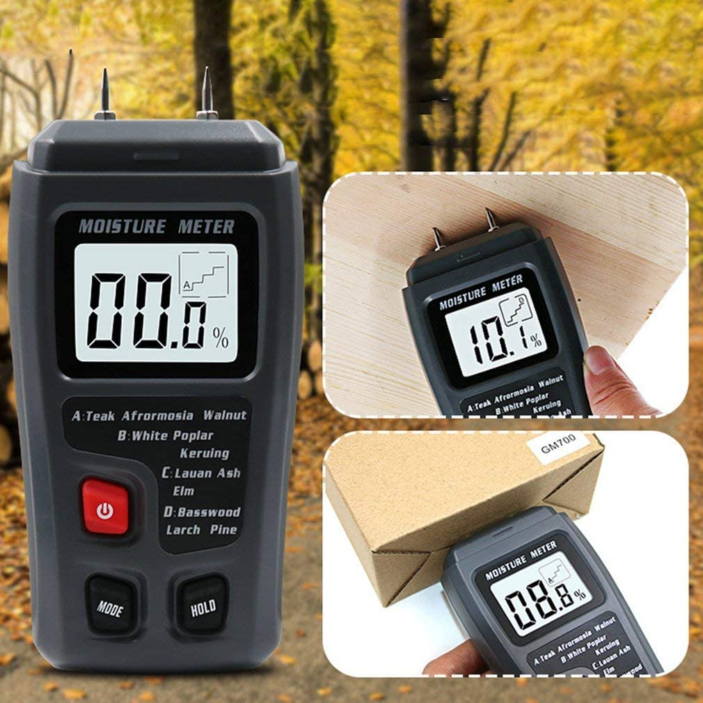 Tool Parts 0-99.9% 2 Pins Digital Wood Moisture Meter High Accuracy Quick Reaction Tester with Easy-to-Read LCD Screen - CN
