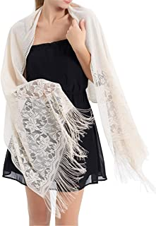 RIIQIICHY Women's Floral Lace Mesh Party Prom Wedding Shawl Scarf with Fringe