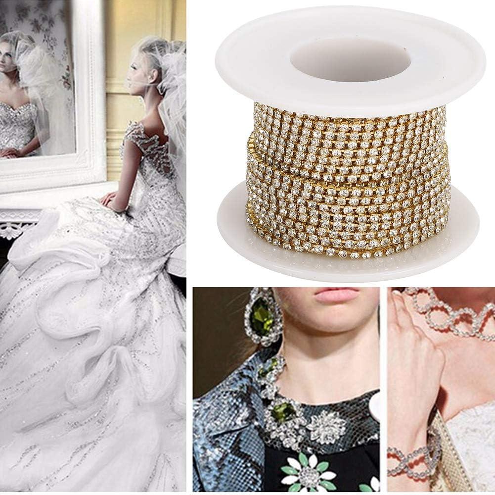 10 Yard Crystal Rhinestone Close Chain Trimming Claw Chain Crystal Bead Chain Decorative Chain Gold Rhinestone Chain