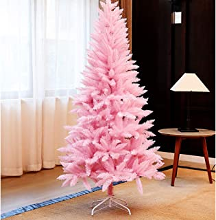JRMU 4 5 6 7ft Pink Christmas Tree Artificial, Premium PVC Full Hinged Xmas Tree Unlit Tree Without Ornaments Flame Retardant Pretty for Girl Gift Festival-180cm(6ft)
