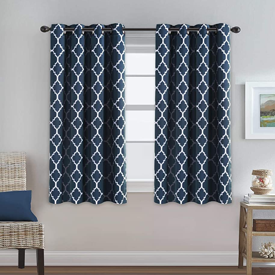 Thermal Insulated Blackout Curtains 63 length Three Pass Microfiber Noise Reducing Grommet Top Window Draperies & Curtains for Living Room Moroccan Tile Quatrefoil in Navy, 2 Panels, 52x63 - Inch