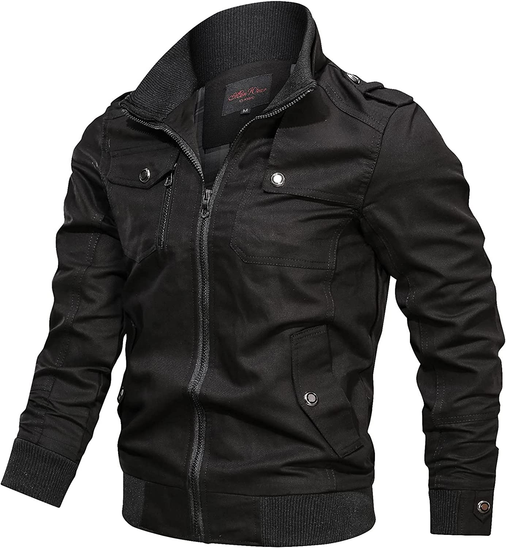 FORUU Military Jackets for Men 2021,Casual Plus Size Winter Jacket Solid Coat Men Zipper Jacket Oversized Sport Peacoat