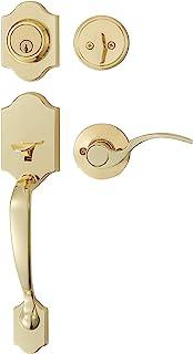 AmazonBasics Handleset with Shelby Lever - Single Cylinder - Polished Brass