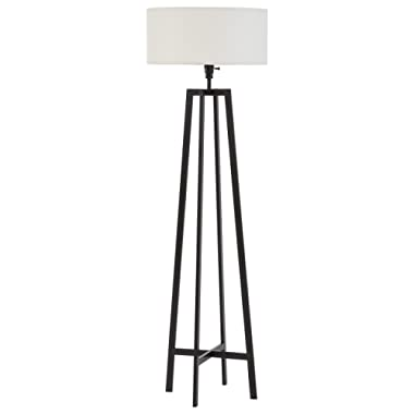 Amazon Brand – Stone & Beam Deco Metal Frame Living Room Standing Floor Lamp With Light Bulb and White Shade - 18 x 18 x 59.5 Inches, Black